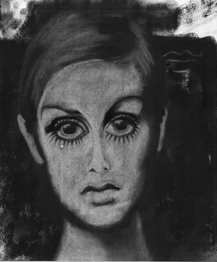 Tilda´s Tear. Daniel Hartlaub. From Graphic Novel 2048. Charcoal on Paper. 21.3 x 25.7cm.