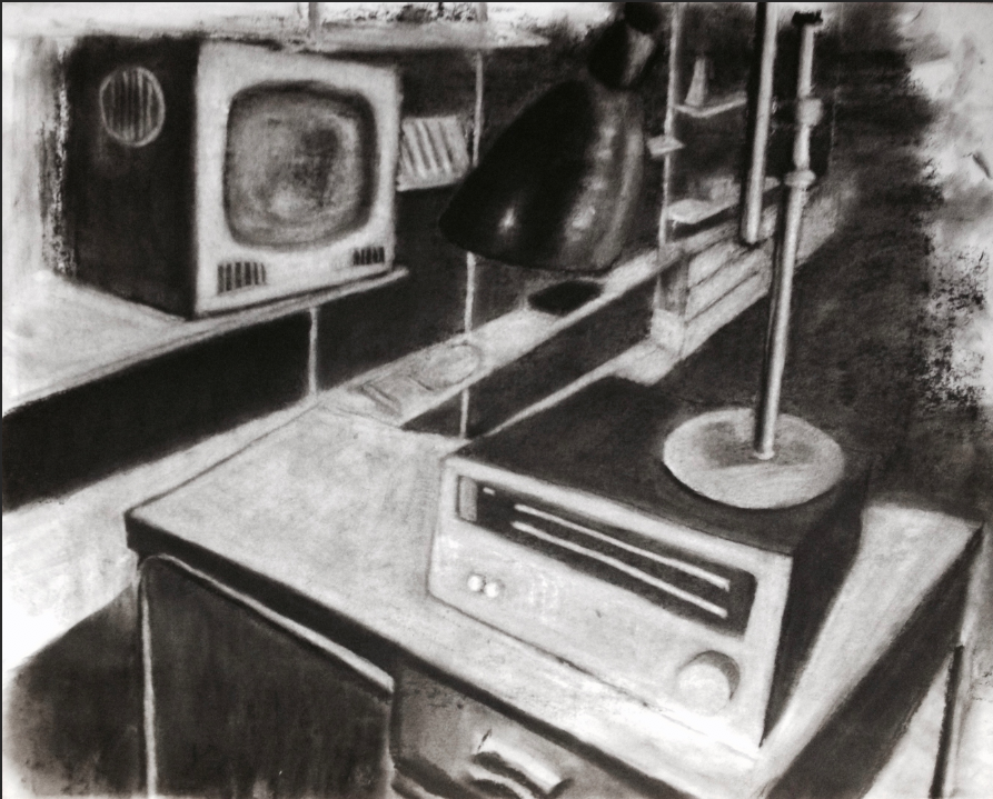 Daniel Hartlaub. From Graphic Novel 2048. Charcoal on Paper. 59.4 x 42.0cm.