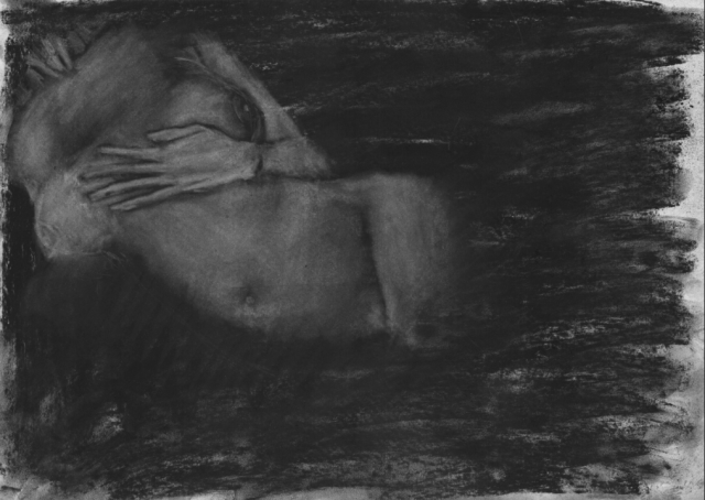 Tilda´s Hand. Daniel Hartlaub. From Graphic Novel 2048. Charcoal on Paper. 42.0 x 29.7cm. The artwork is signed.