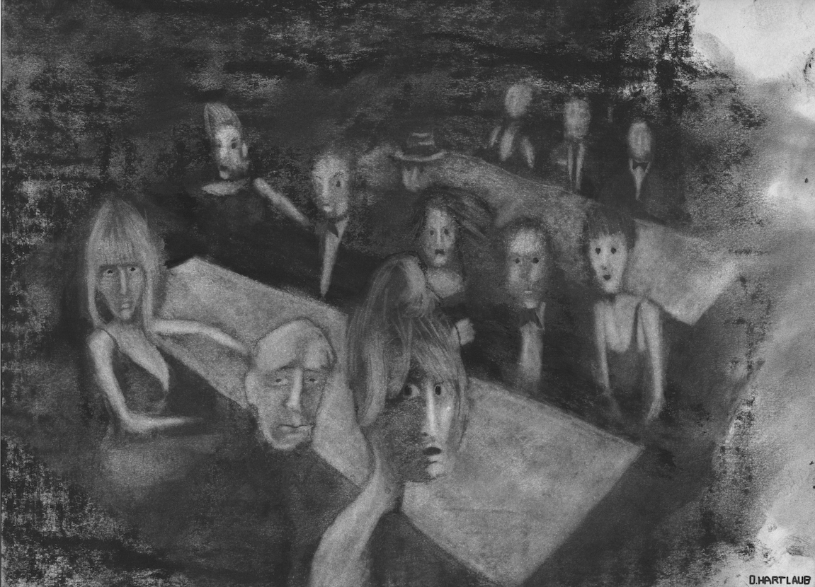 Daniel Hartlaub. From Graphic Novel 2048. Charcoal on Paper. 29.7 x 21cm. The artwork is signed.