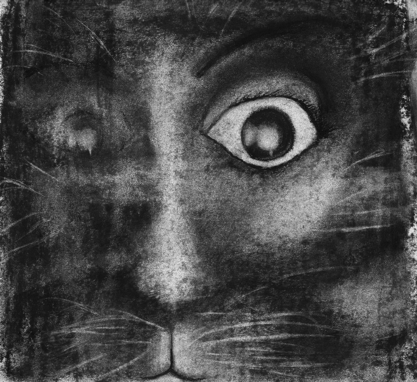 Tilda as Cat. From Graphic Novel 2048. Charcoal on Paper. 20.5 x 22.4cm.