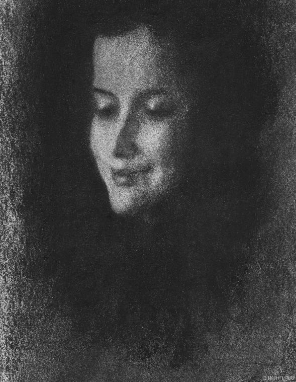 Tatjana. Daniel Hartlaub. Charcoal on Paper. 22.2 x 17.3 cm.