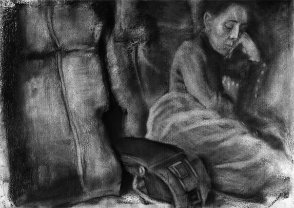 Franziska. Daniel Hartlaub. From Graphic Novel 2048. Charcoal on Paper. 42.0 x 29.7cm. The artwork is signed.