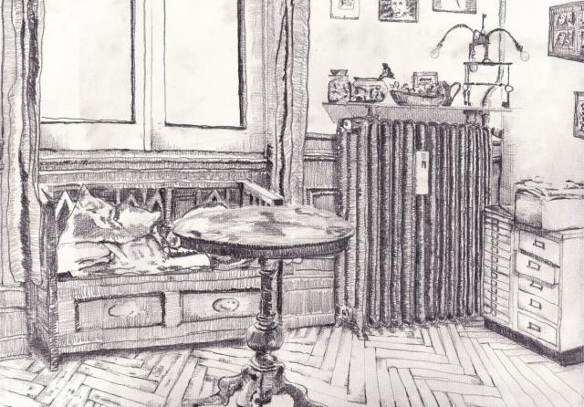 Arbeitszimmer. Daniel Hartlaub. Pop-Up Gallery Wiesenau. Pencil on paper. 42.0 x 29.7cm
