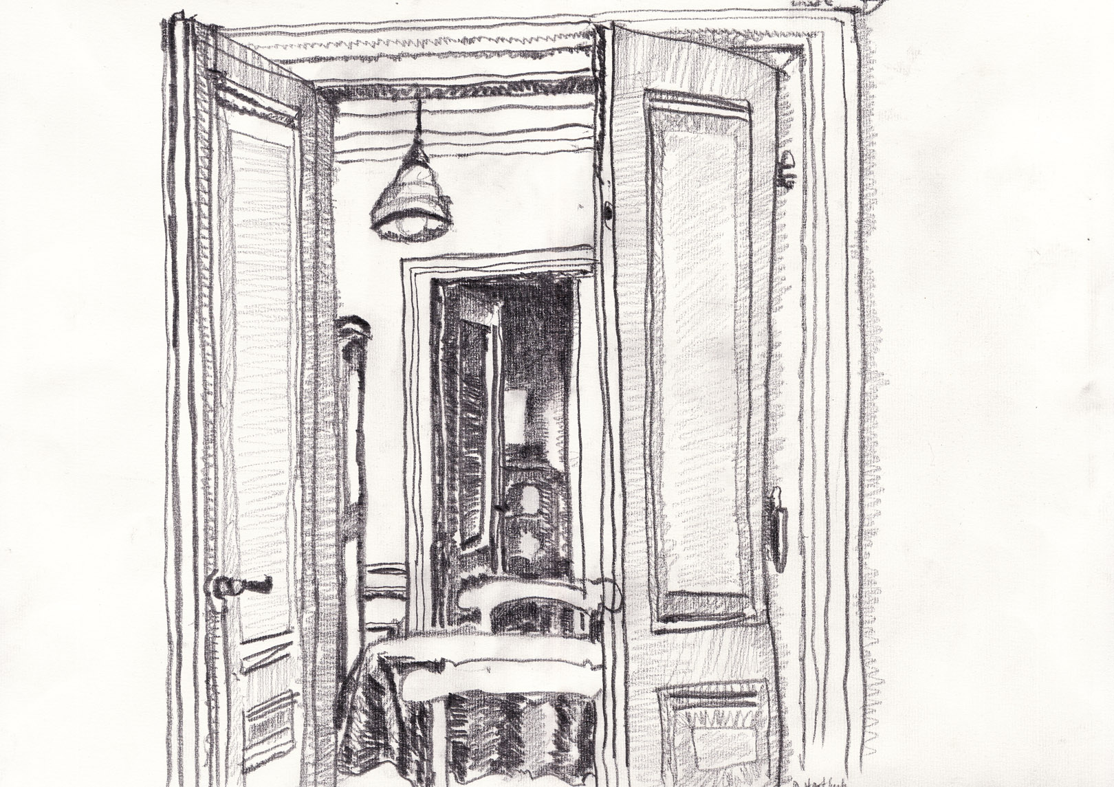 Esszimmer. Pop-Up Gallery Wiesenau. Pencil on paper. 29.7 x 42.0cm