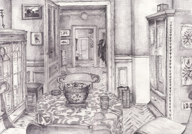 Esszimmer. Daniel Hartlaub. Pop-Up Gallery Wiesenau. Pencil on paper. 42.0 x 29.7cm