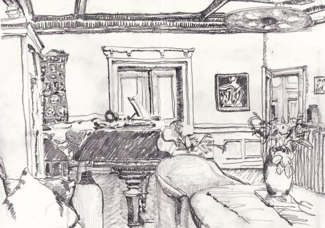 Wohnzimmer 1. Daniel Hartlaub. Pop-Up Gallery Wiesenau. Pencil on paper. 42.0 x 29.7cm