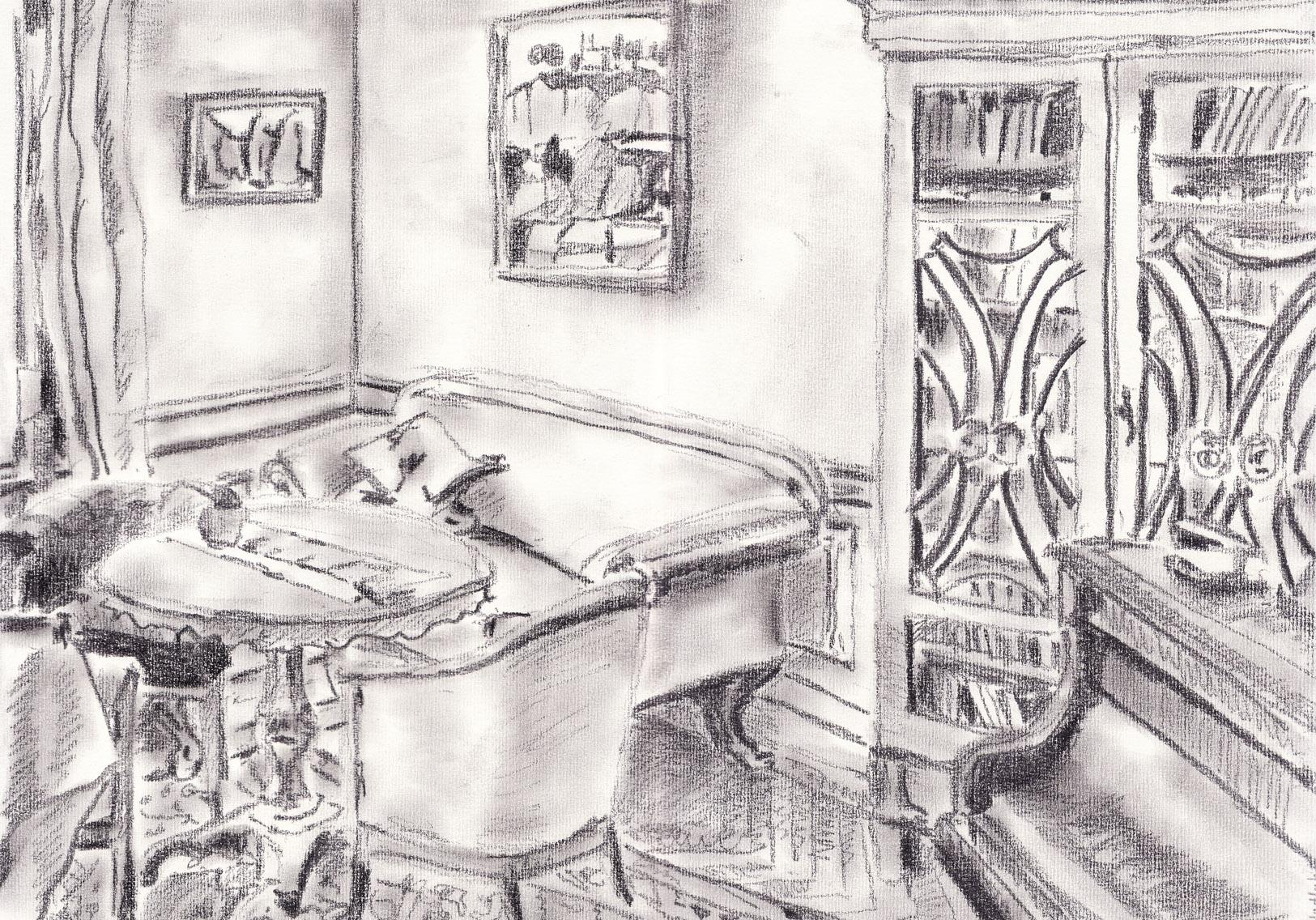 Wohnzimmer 2. Daniel Hartlaub. Pop-Up Gallery Wiesenau. Pencil on paper. 42.0 x 29.7cm